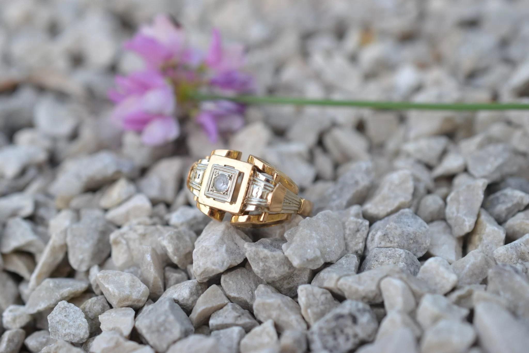 Bague Tank années 1950 - En Or jaune 18 carats - Bijoux anciens éthiques