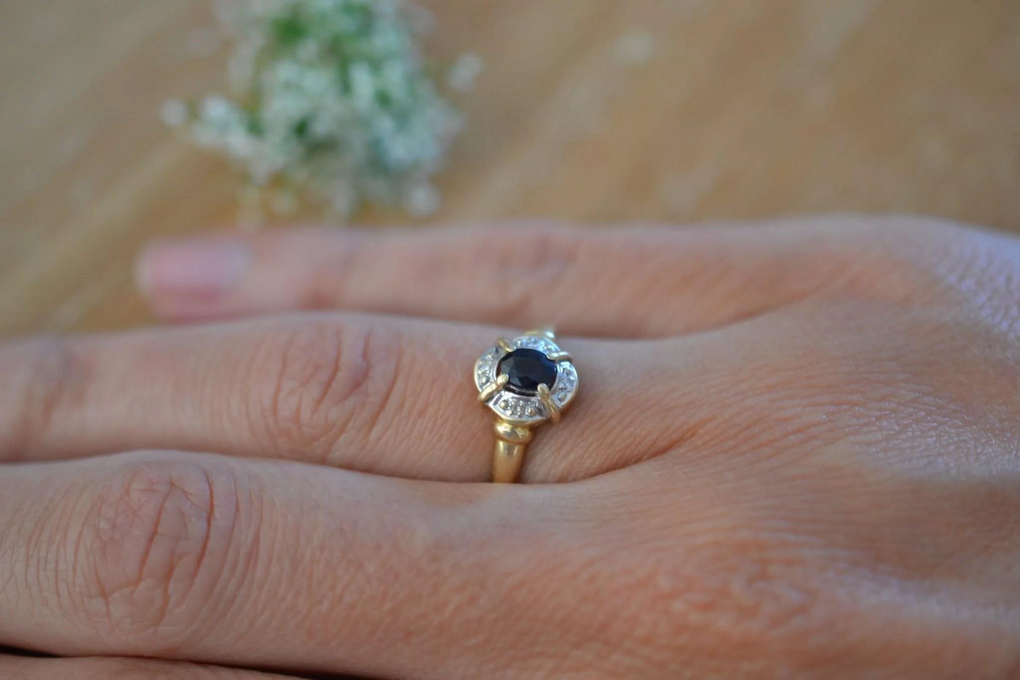 bague saphir et Or jaune et blanc pavage - bijou ancien - 18 carats 750/1000 - bijoux noircarat