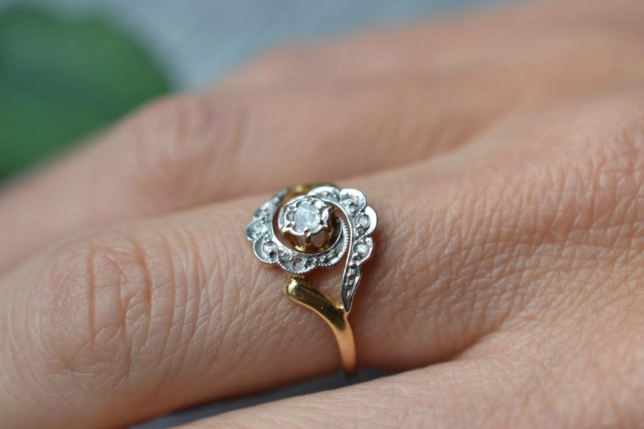 bague vintage fiançailles mariage - tourbillon - or jaune 18 carats - bijoux anciens et vintage - ecoresponsable - noircarat.fr