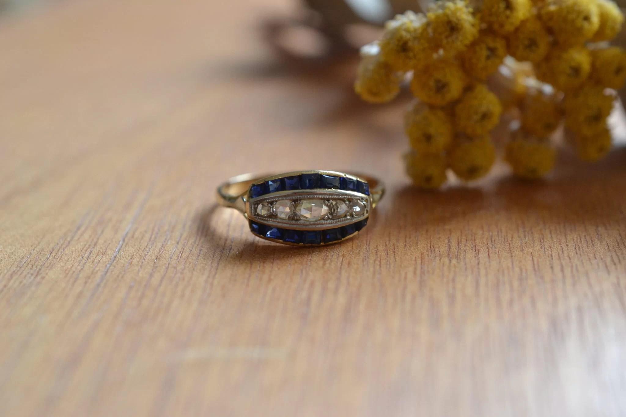 Bague Diamants Entourés De Saphirs