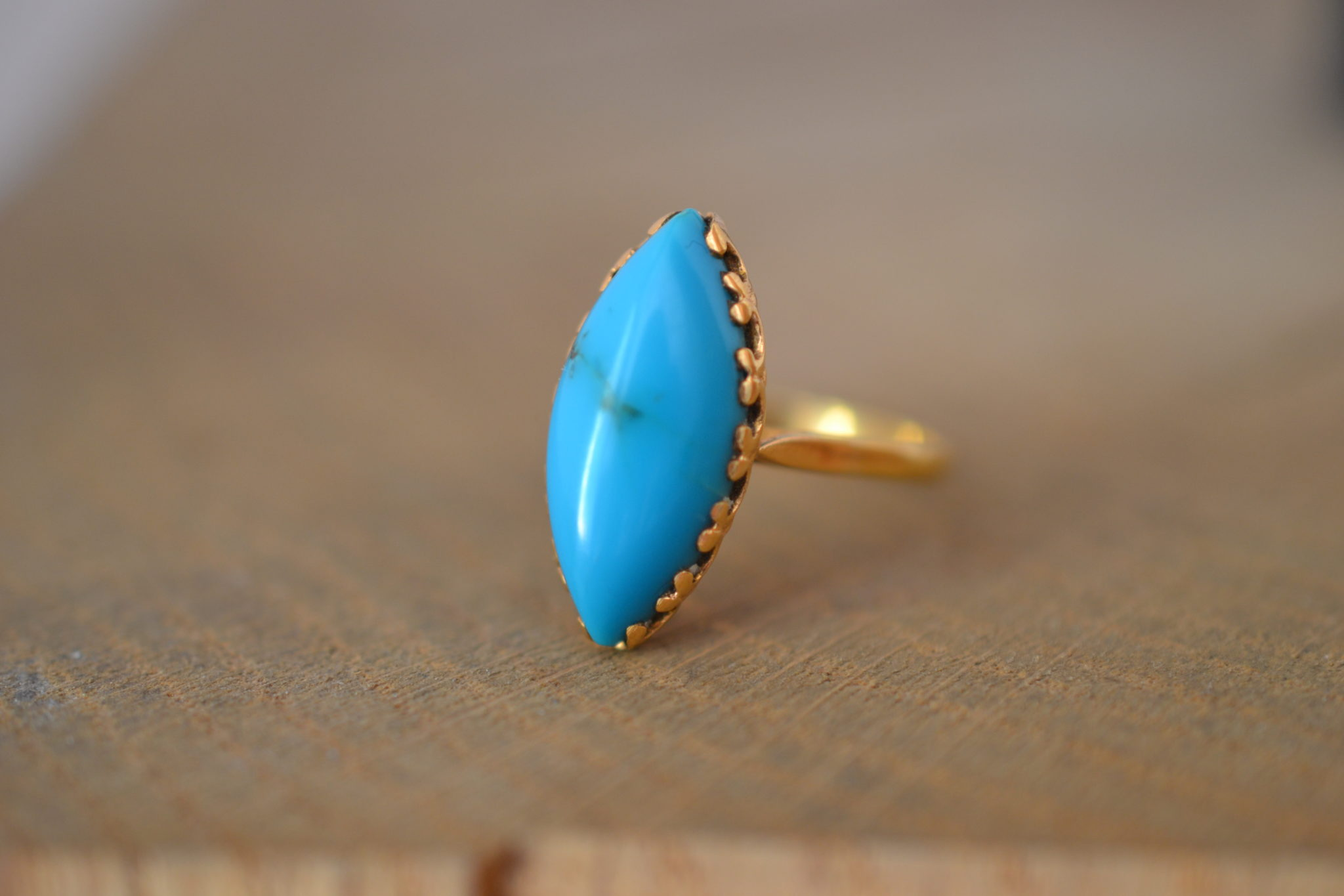 Bague Navette Turquoise