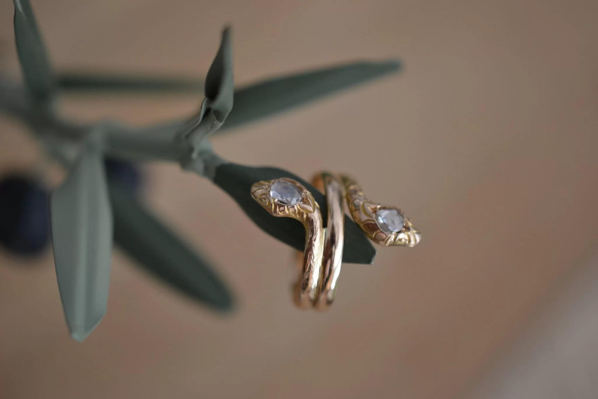 Bague Ancienne Serpent En Or 1! Carats - Bijoux Vintage