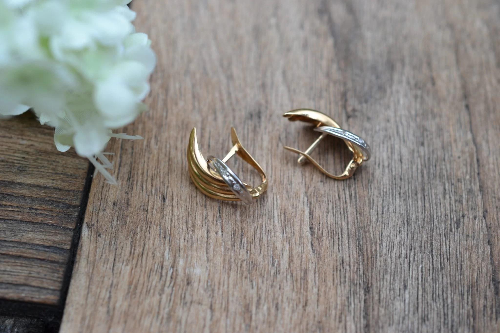 boucles d'oreilles anciennes en Or jaune et or blanc 18 carats - boucles d'oreilles pour mariage durable