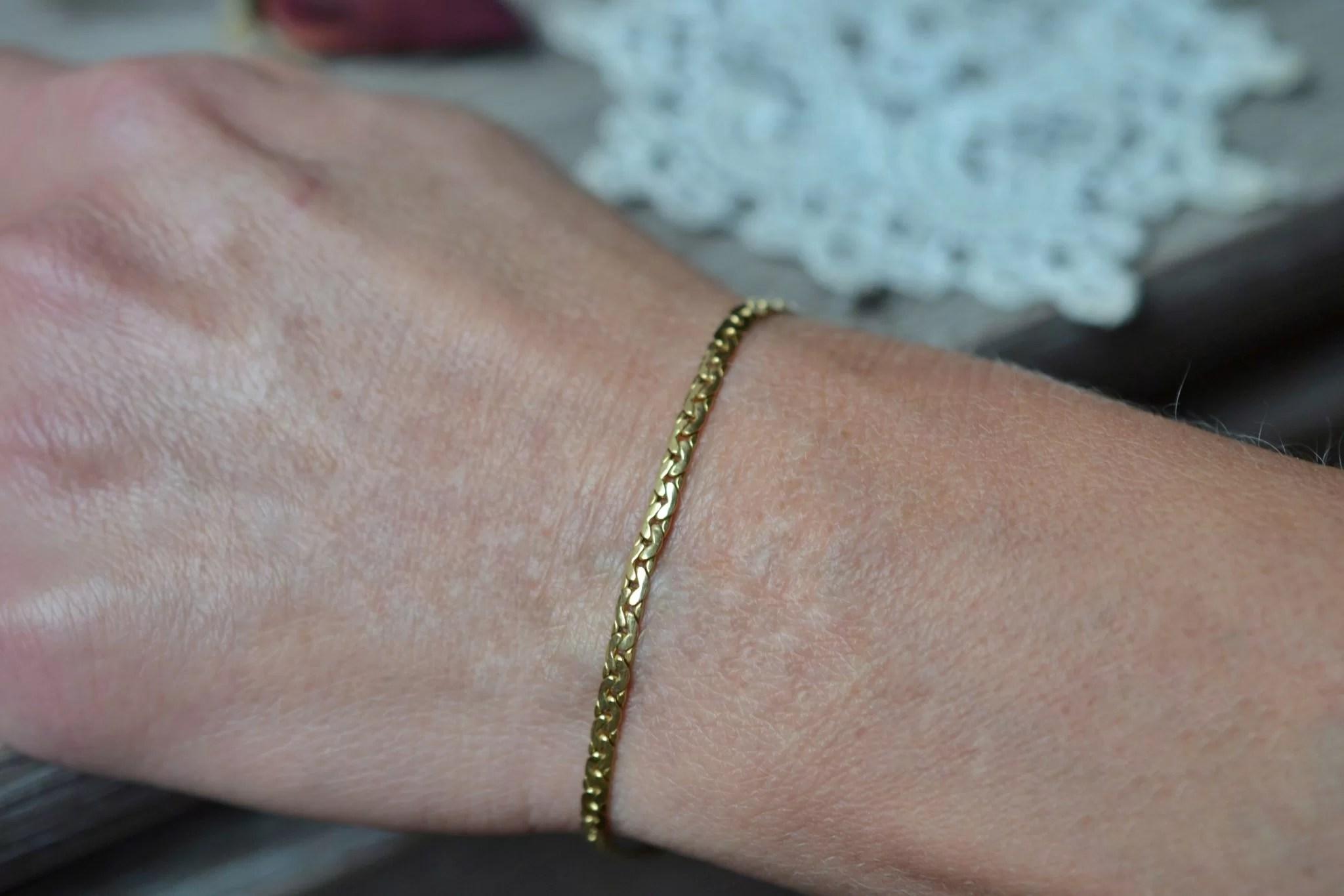 Bracelet maille en Or jaune unisexe bijou vintage
