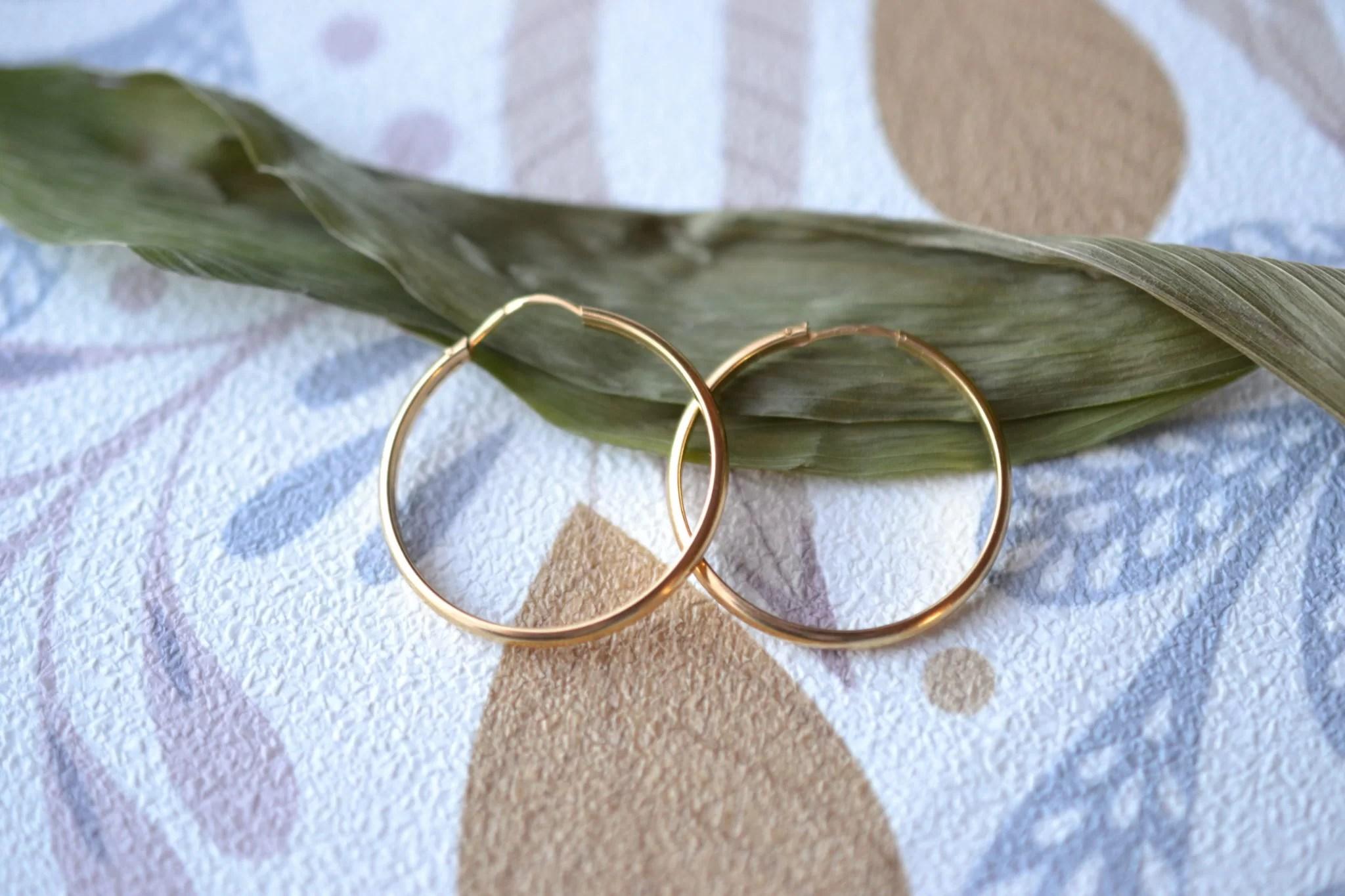 Paire de Créoles classiques en Or jaune - boucles d_oreilles de seconde main
