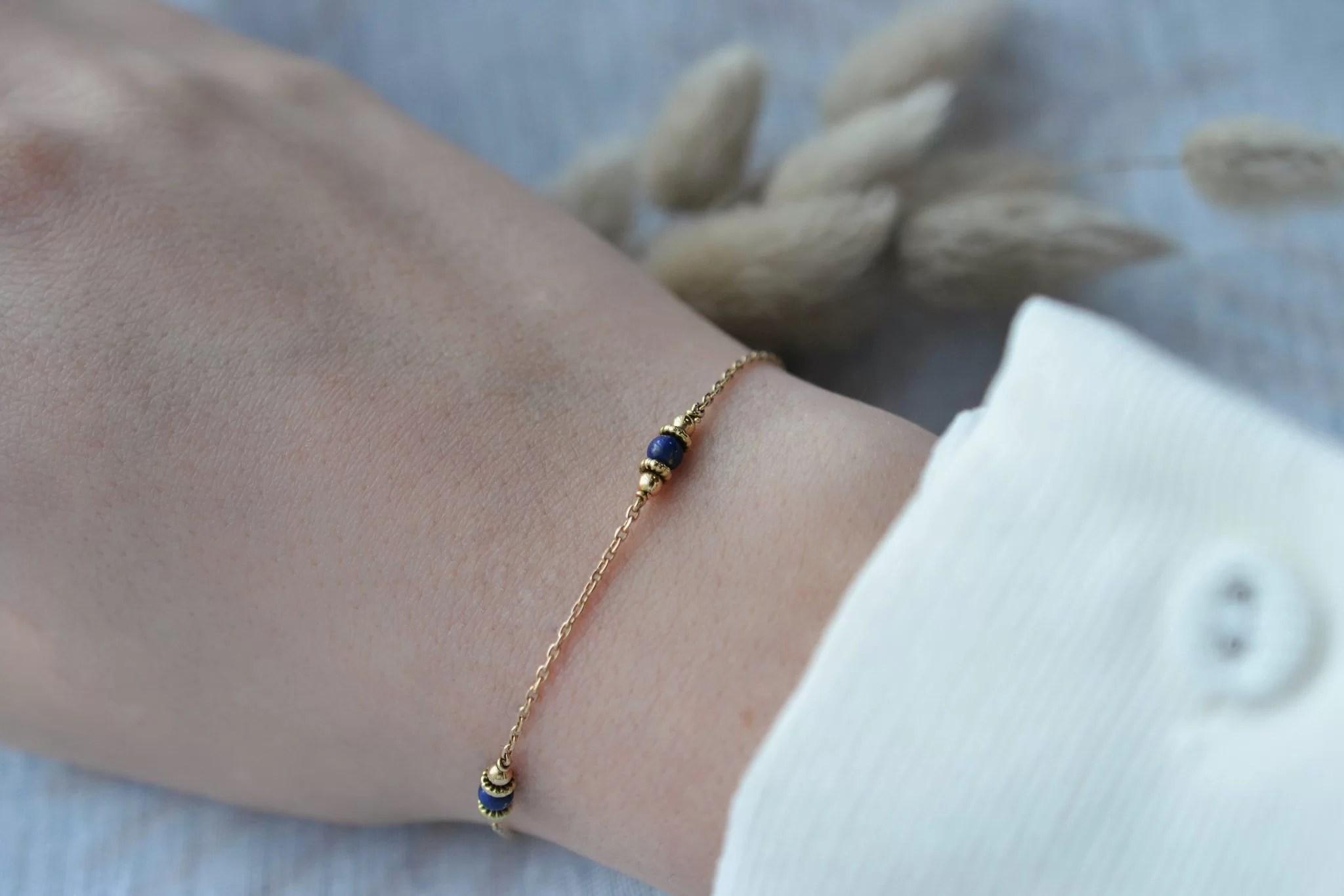 Bracelet en Or jaune habillé de 4 Lapis-lazulis - bracelet d_occasion