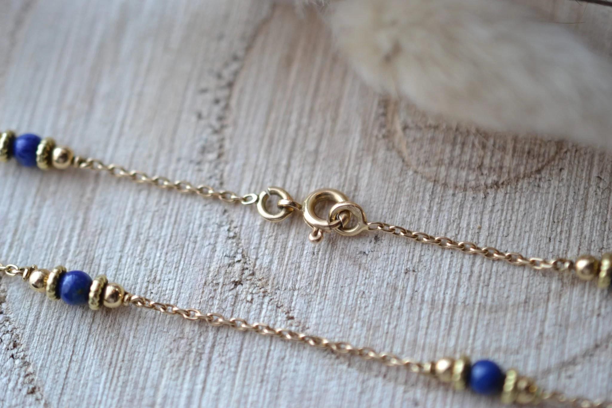 Bracelet en Or jaune habillé de 4 Lapis-lazulis - bracelet rétro