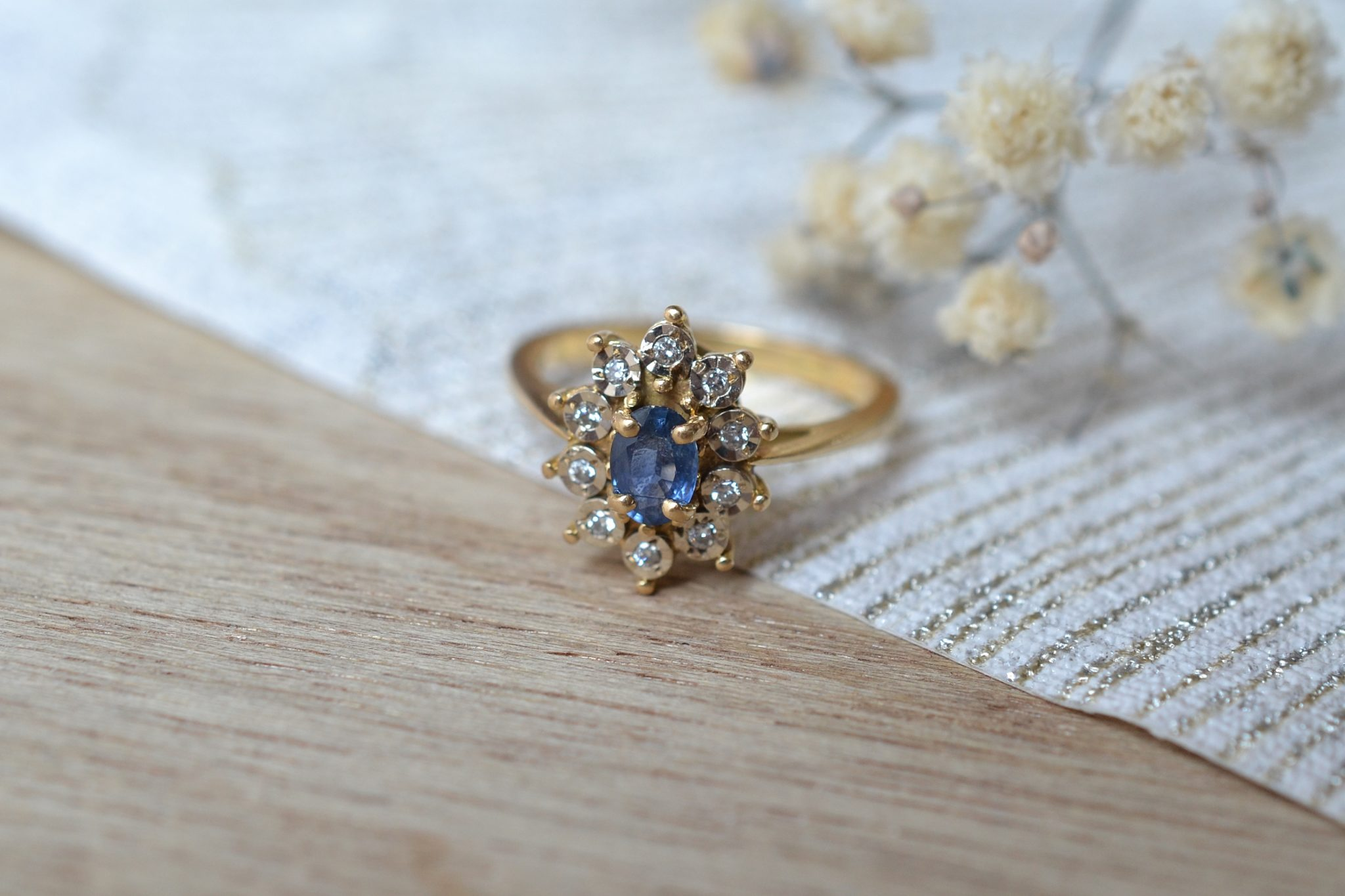 Bague Marguerite Saphir & 10 Diamants
