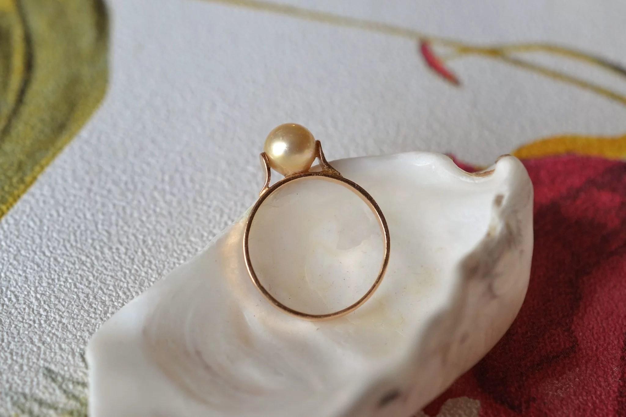 Bague en Or jaune rosé agrémentée d_une perle de culture - bague éthique et éco-responsable