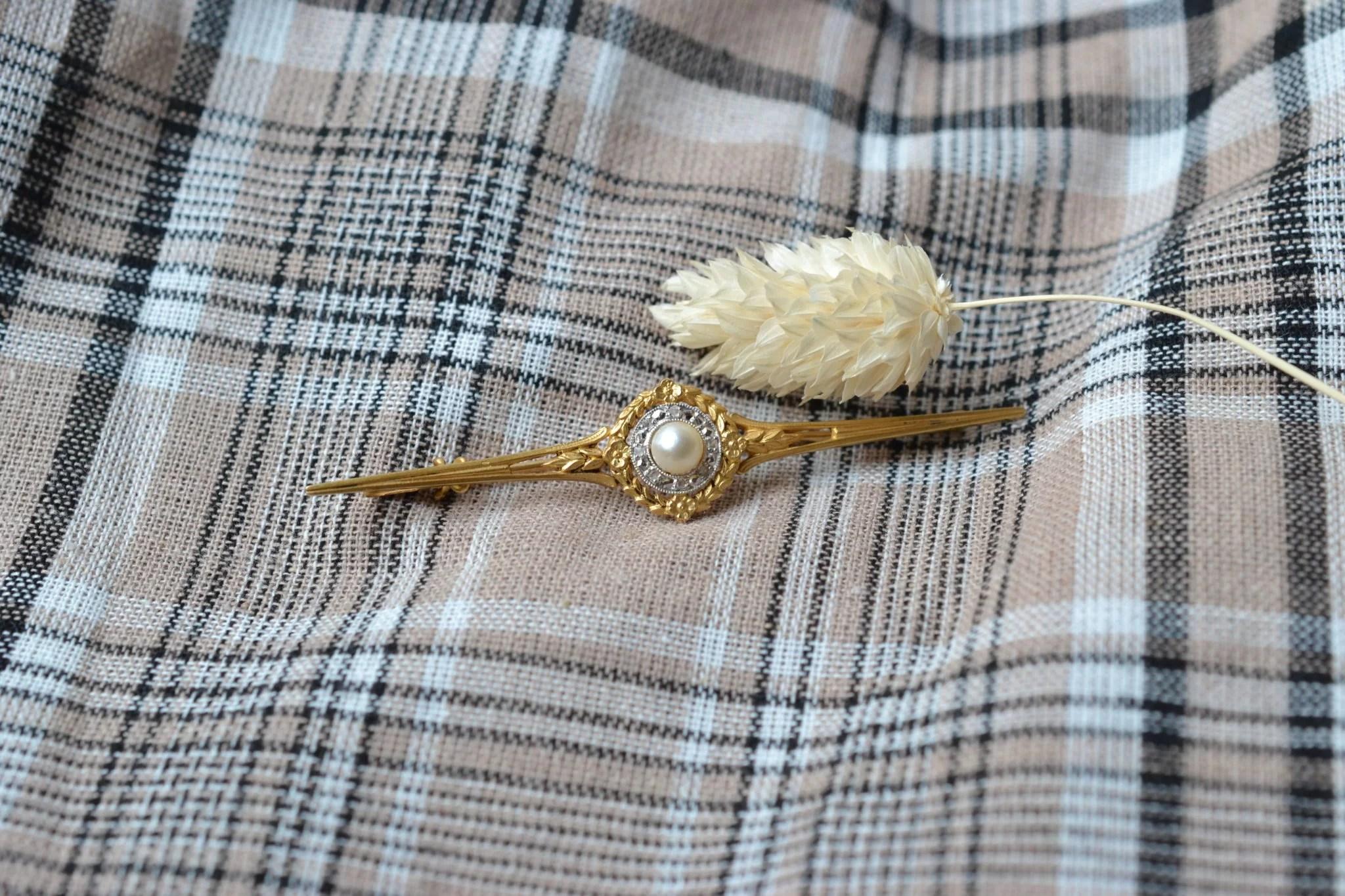 Broche Perle Et Diamants