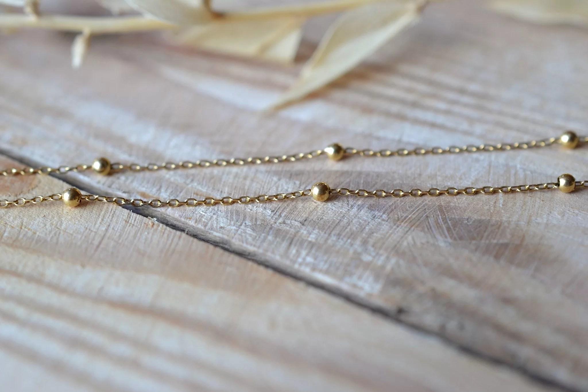 Chaîne En Or Jaune Agrémentée De Petites Perles D_Or - Bijou Ancien Et Rétro