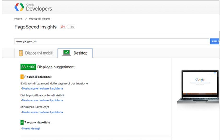 Page Speed sito di google per il test della velocità