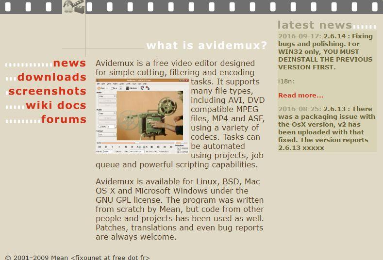 Programma per tagliare i video Avi Demux