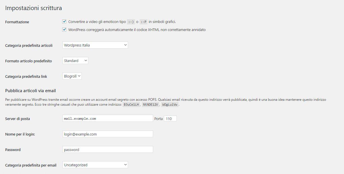 Wordpress Impostazioni Scrittura