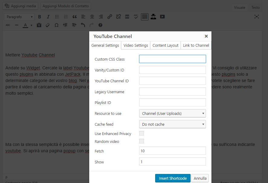 youtube playlist con le Api Key su WordPress pagina o post