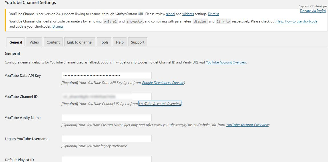 Plugins per Wordpress per widget Youtube con le Api Key