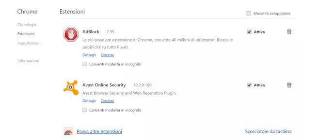 Rimuovere Adware da Chrome