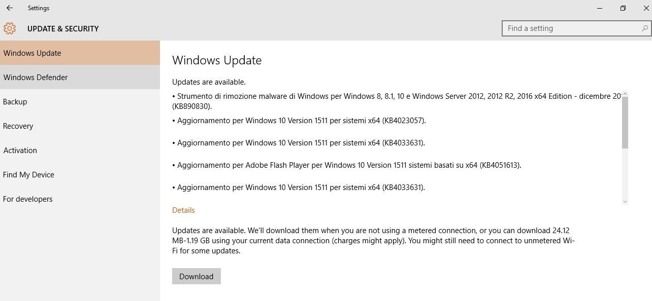Windows 10 aggiornamento e sicurezza