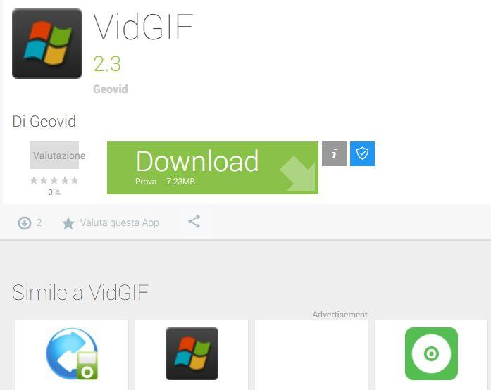 Programma per realizzare GIF VIDGIF