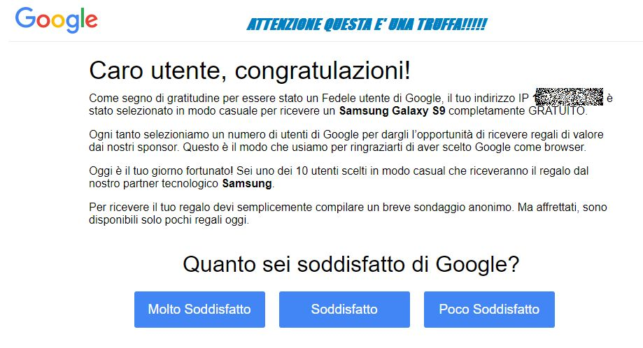 Truffa telematica on line cellulare Samsung o Apple Iphone su Google