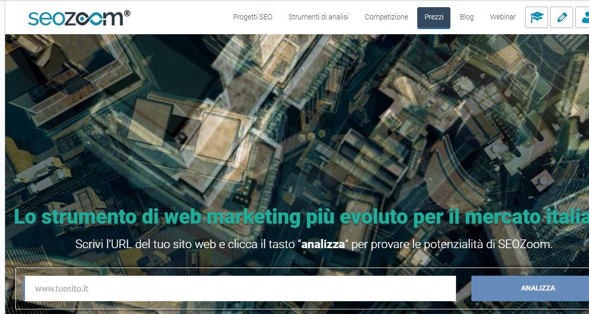 Seo Zoom sito web per analizzare il traffico di siti web concorrenti