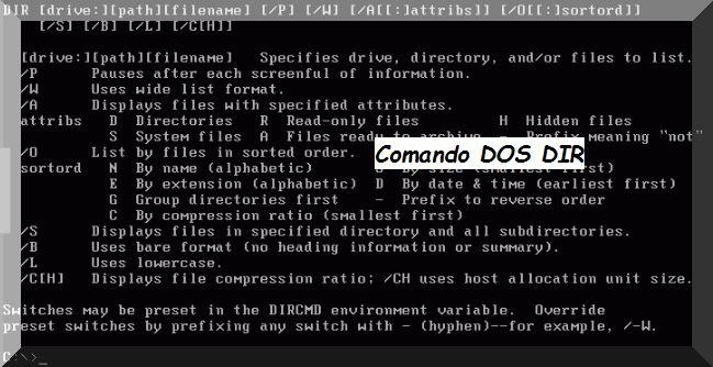 Esempio di Comando DOS directory