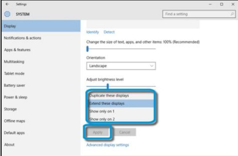 Schermata Collegamento Windows 10 di Monitor a PC fisso laptop