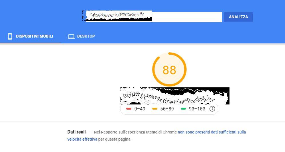 Sito per effettuare il test della velcoità del vostro sito Web di Google chiamato Page Speed Insight