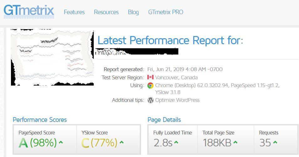Sito per il test della velocità del vostro sito Web chiamato Gtmetrix, design elegante, semplice e intuitivo