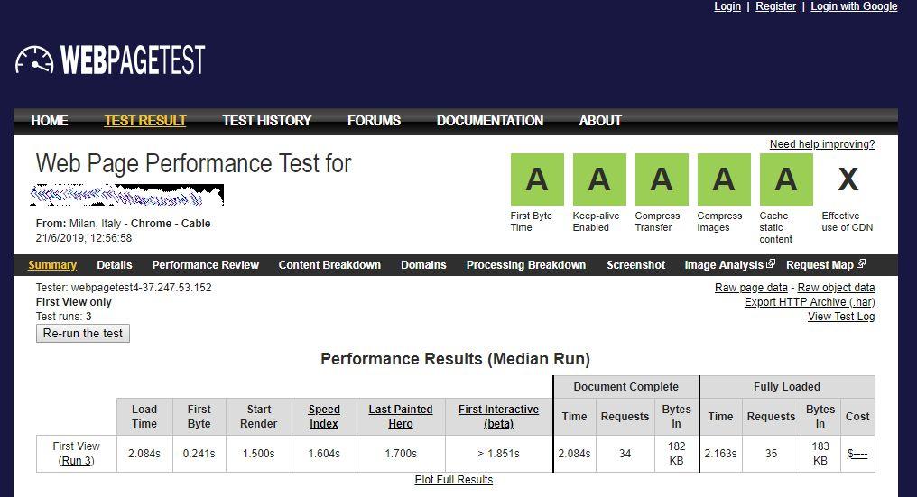 Web Page Test verifica le prestazioni del vostro sito web. Test della velocità nel web