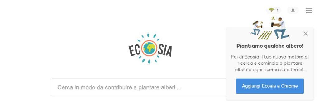 Motore di ricerca ecologico Ecosia per piantare nuove piante.