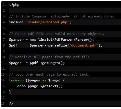 Esempio estrazione dati con codice PHP e libreria PDF Parser