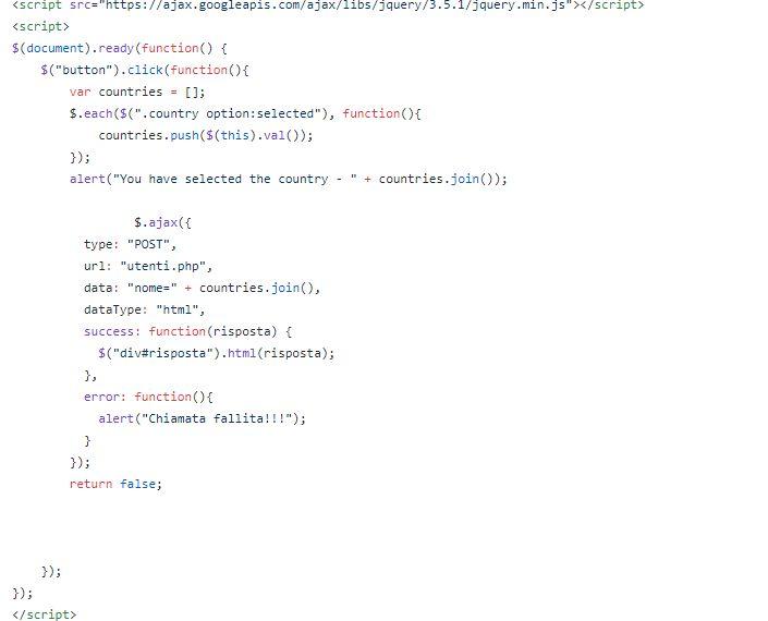 Passaggio di parametri da PHP a Html tramite chiamata asincrona Jquery parte 2