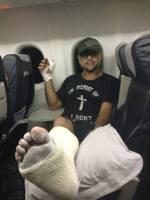 Jon Stevens ships his broken leg off to America