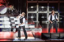David Lee Roth and Eddie Van Halen of Van Halen perform on stage during 2013 STONE Music Festival at ANZ Stadium on April 20, 2013 in Sydney, Australia photo by Ros O'Gorman