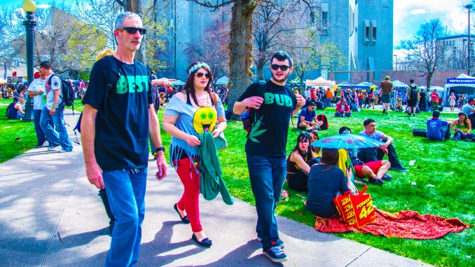 420 Rally, Denver Civic Center Park 2014 Crowd Capitol Weed Smoke Cloud Capitol Best Bud T-Shirts Image ©Fara Paige