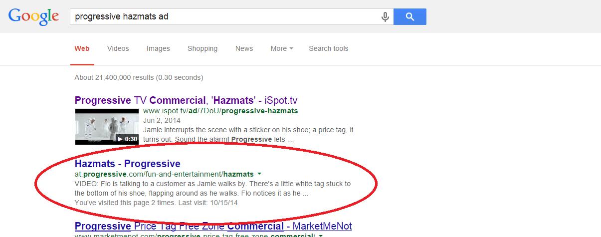 Progressive Hazmats Ad Screenshot 404 Google search