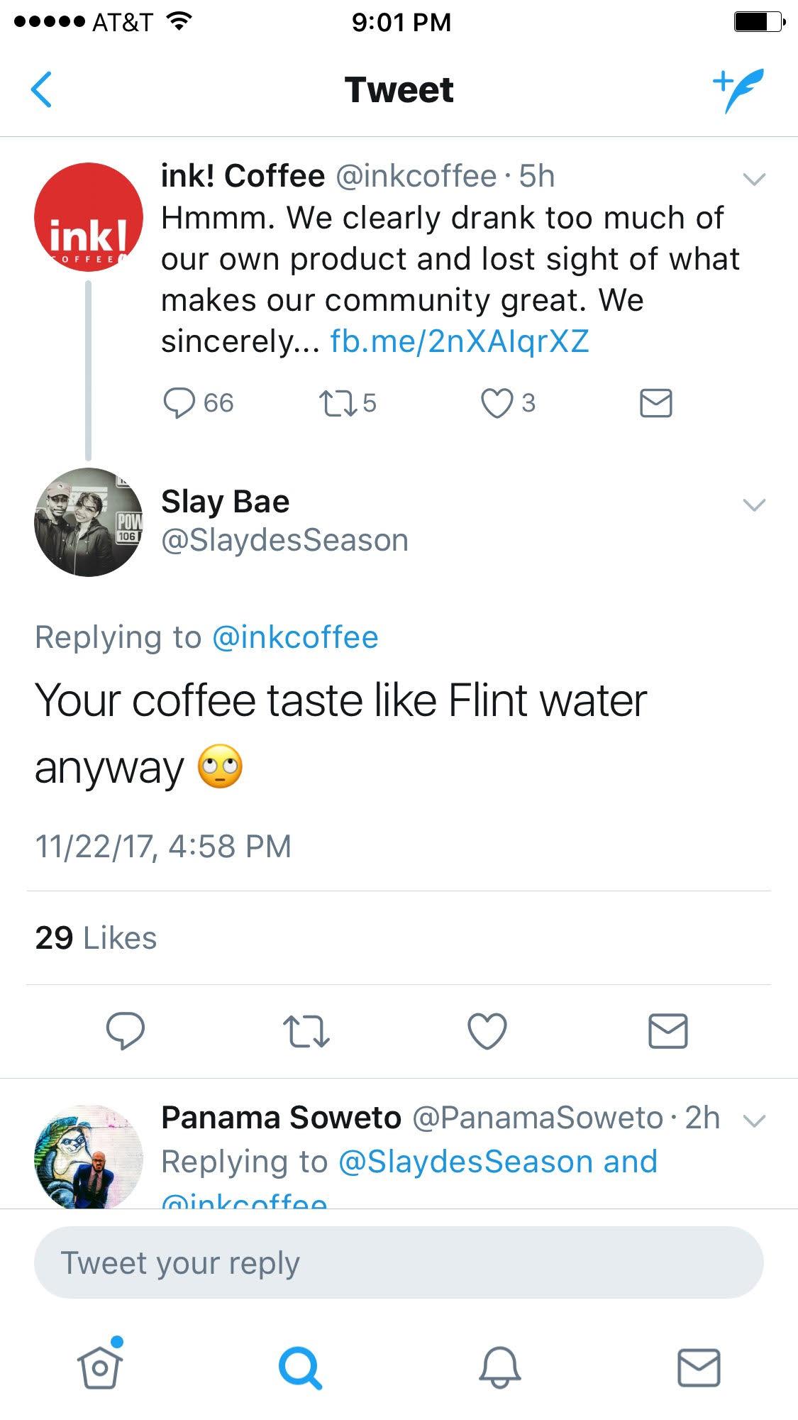 Ink Coffee Twitter response