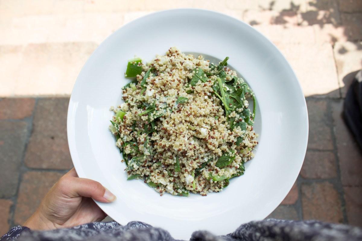 Salade de quinoa, épinards et feta