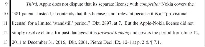 Samsung on Apple-Nokia license term