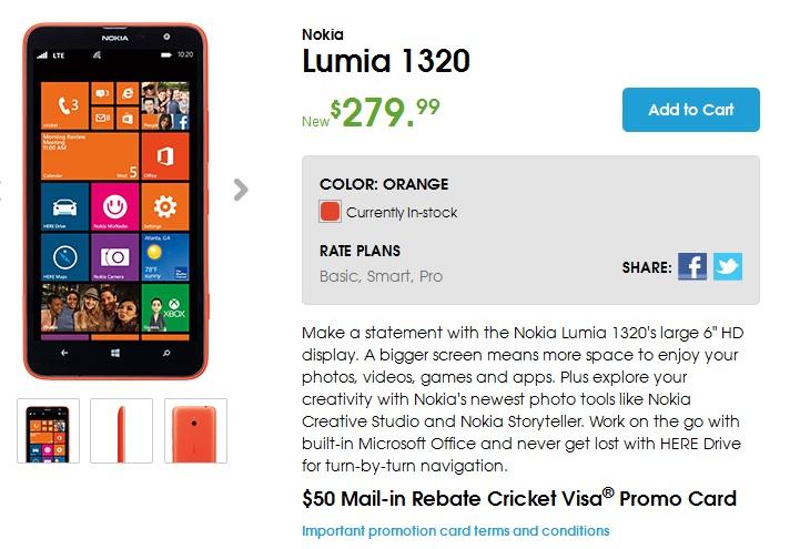 Lumia 1320 cricket
