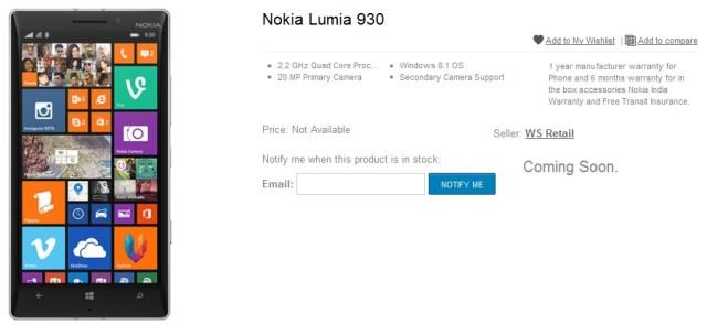 Lumia 930 india