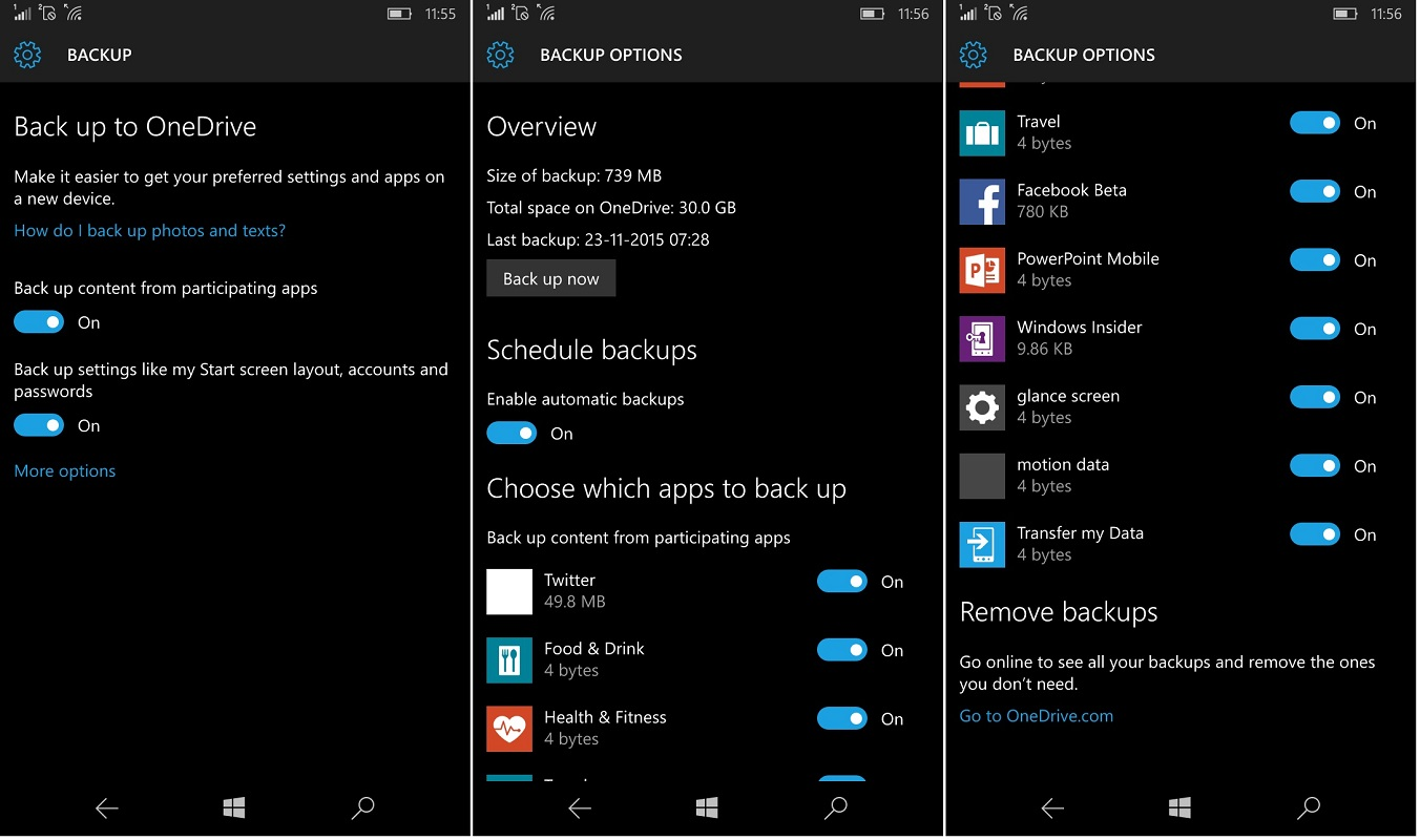 windows 10 mobile backup 1 backing up apps start screen accounts settings