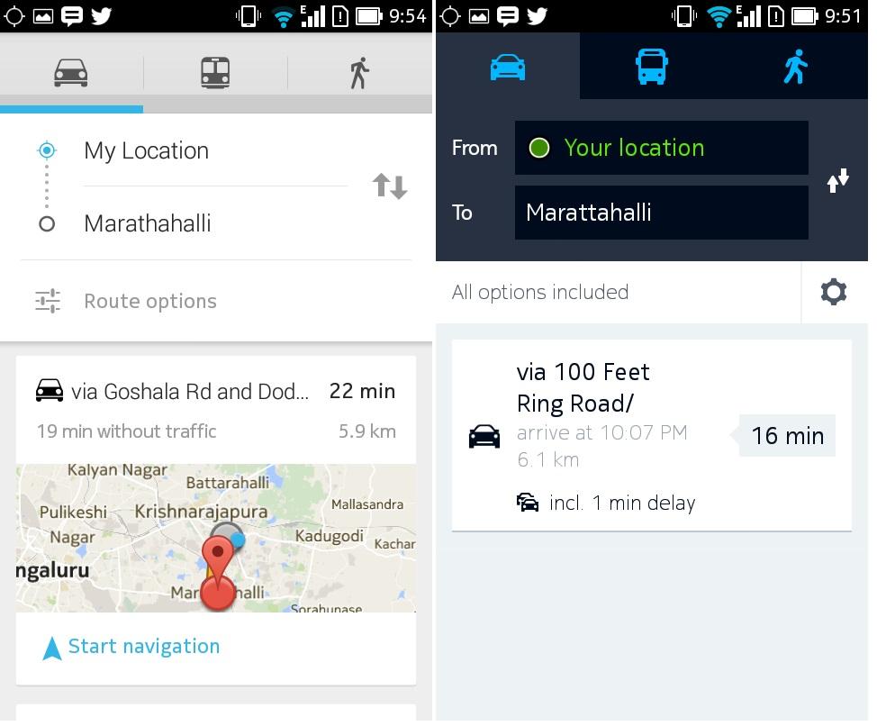 Google vs HERE navigation