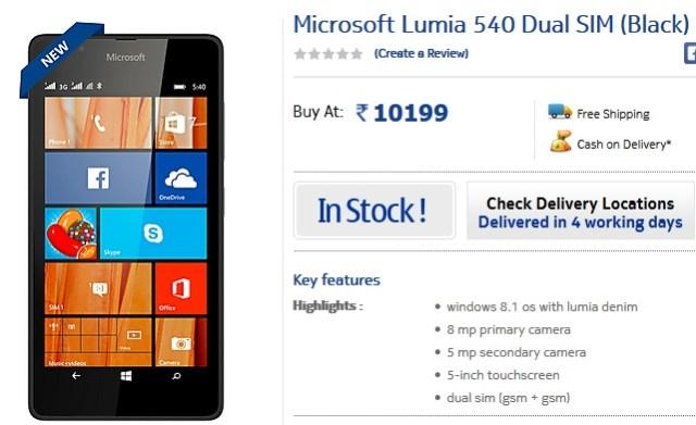 Lumia 540 stock