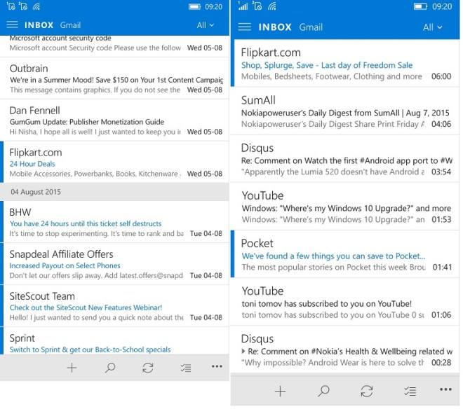 Outlook mail update