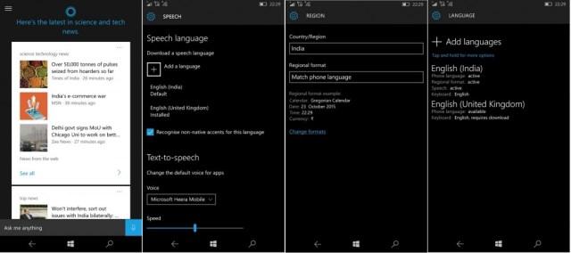 Cortana India Windows 10 Mobile