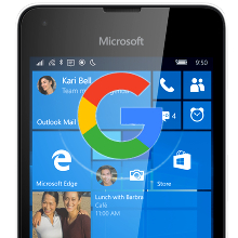 Google apps on Windows 10 Mobile