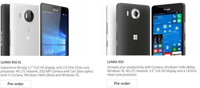 Lumia 950-950 XL pre-order