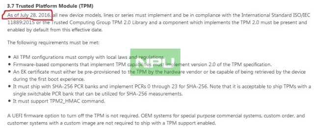 Windows 10 Mobile TPM 2.0 July 28